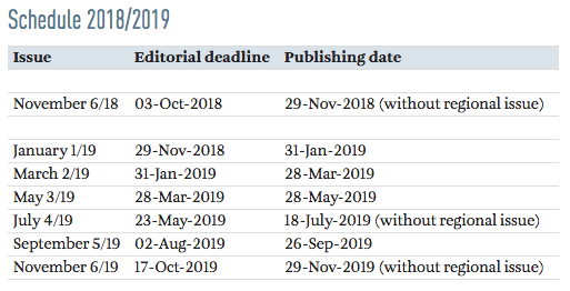 Swiss Review Editorial Deadlines 2019